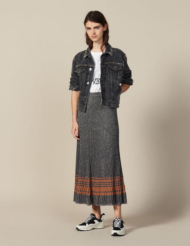 Lurex Knit Midi Skirt : Skirts & Shorts color Silver