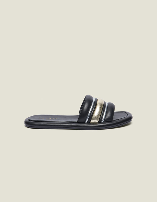 Flat Mules In A Blend Of Materials : null color black/gold