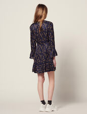 Short Printed Dress With Ruffles : null color Blue
