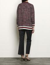 Tweed-effect cardigan with braid trim : Sweaters & Cardigans color Blue