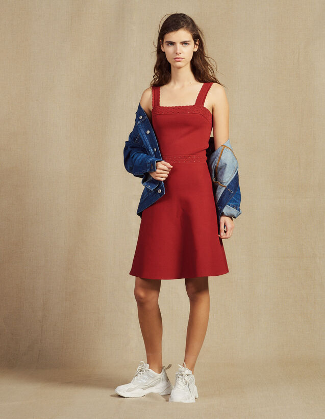 Knit Dress With Straps : Dresses color Terracotta