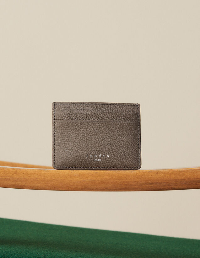 Grained Leather Card Holder : Card Holders color Taupe