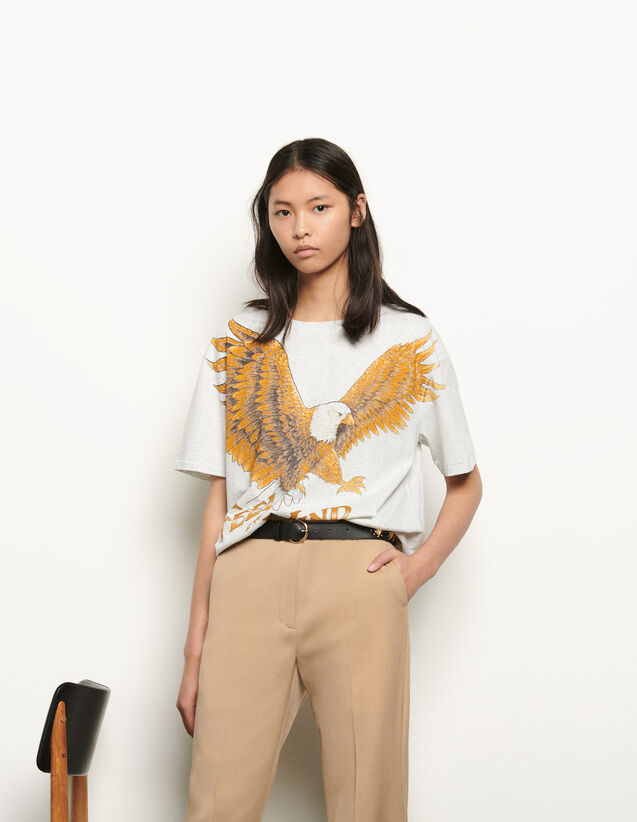 Oversized printed T-shirt : Summer Collection color Grey