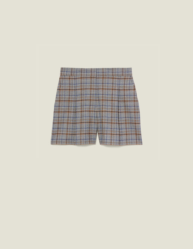 Checked shorts with front pleats : Skirts & Shorts color Grey