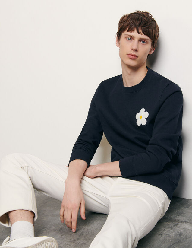 Sweatshirt with embroidered patch : Summer Collection color Navy Blue