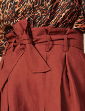 Pleated Shorts With Tie Belt : FBlackFriday-FR-FSelection-50 color Wine