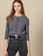 Cardigan with contrasting topstitching : LastChance-ES-F30 color Grey