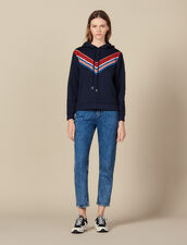 Sweatshirt With Striped Trim : FBlackFriday-FR-FSelection-30 color Navy Blue