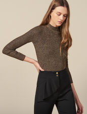 Lurex Ribbed Knit Sweater : Sweaters & Cardigans color Gold