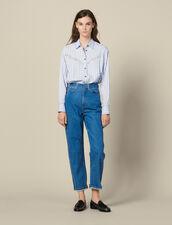 Two-Tone Mom Jeans : LastChance-ES-F50 color Bleu Denim