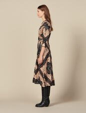 Low neck midi dress with block print : FBlackFriday-FR-FSelection-30 color Black
