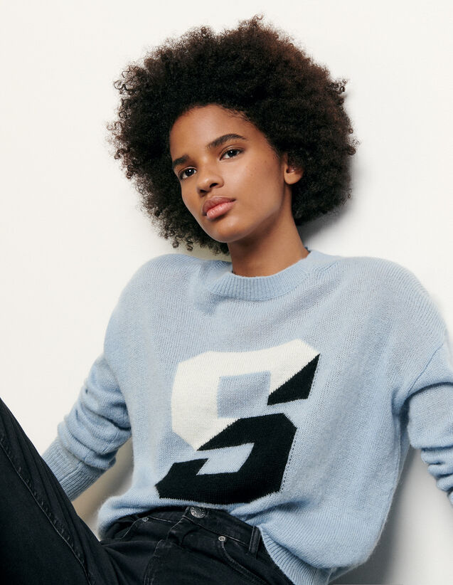 Sweater with initial : Summer Collection color Blue sky