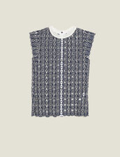 Sleeveless Broderie Anglaise Top : null color Navy Blue