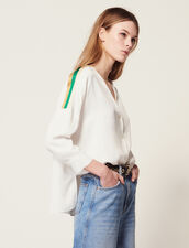 Shirt With Graphic Edging : null color Ecru