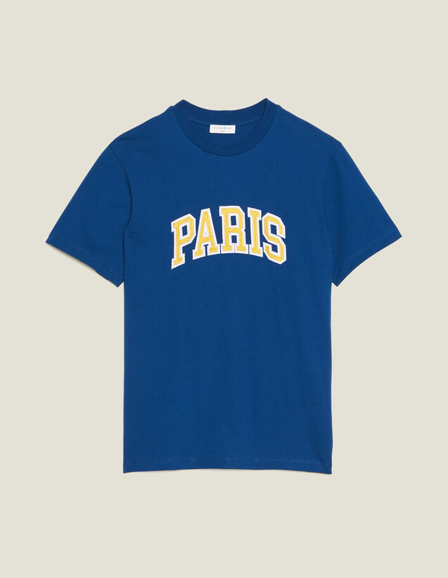 T-Shirt With Patch Lettering : T-shirts & Polo shirts color Blue