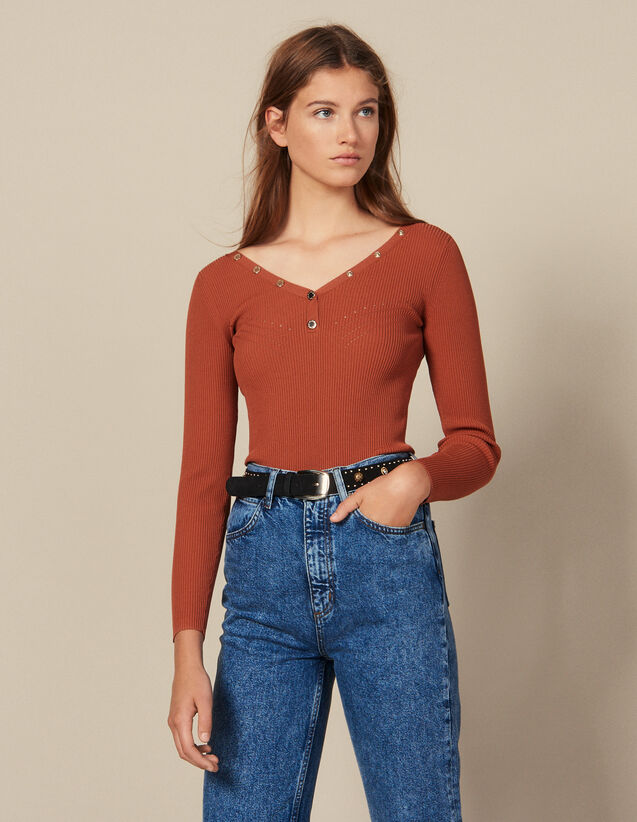 Sweater Trimmed With Branded Press Studs : New In color Terracotta