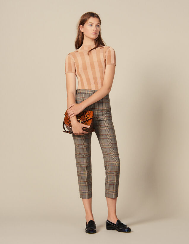 Checked Straight-Cut Trousers : New In color Multi-Color