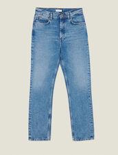 Washed Straight-Cut Jeans : Jeans color Blue Vintage - Denim