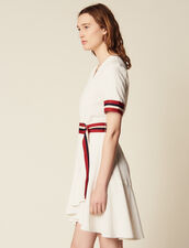 Wraparound Dress With Ribbed Edging : null color Ecru
