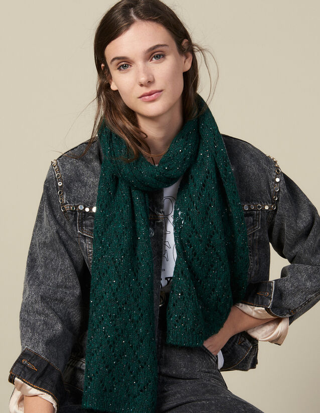 Sequin Scarf : Scarves color Forest Green