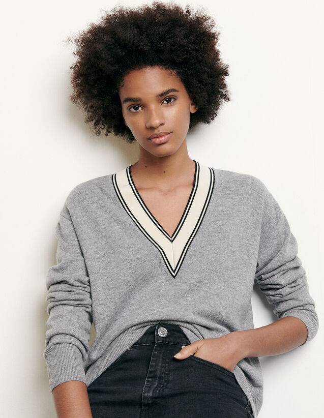 Sweater with constrasting neckline : Summer Collection color Grey
