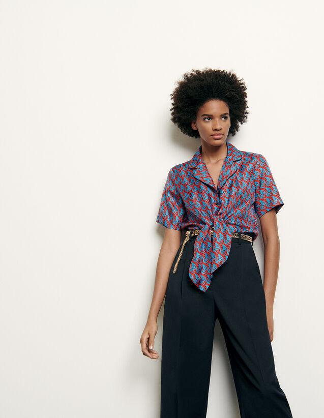 Printed silk pyjama shirt : Summer Collection color Blue