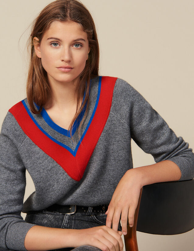 Low-Neck Sweater With Braid Trim : LastChance-ES-F50 color Grey