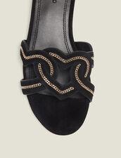 Heart Goatskin Suede Sandals : null color Black