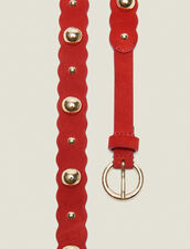 Leather Belt With Decoration : Summer Collection color Red