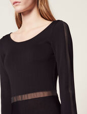 Long Knitted Dress With Open Back : null color Black