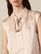 Silk satin top with pussy bow collar : FBlackFriday-FR-FSelection-30 color Nude