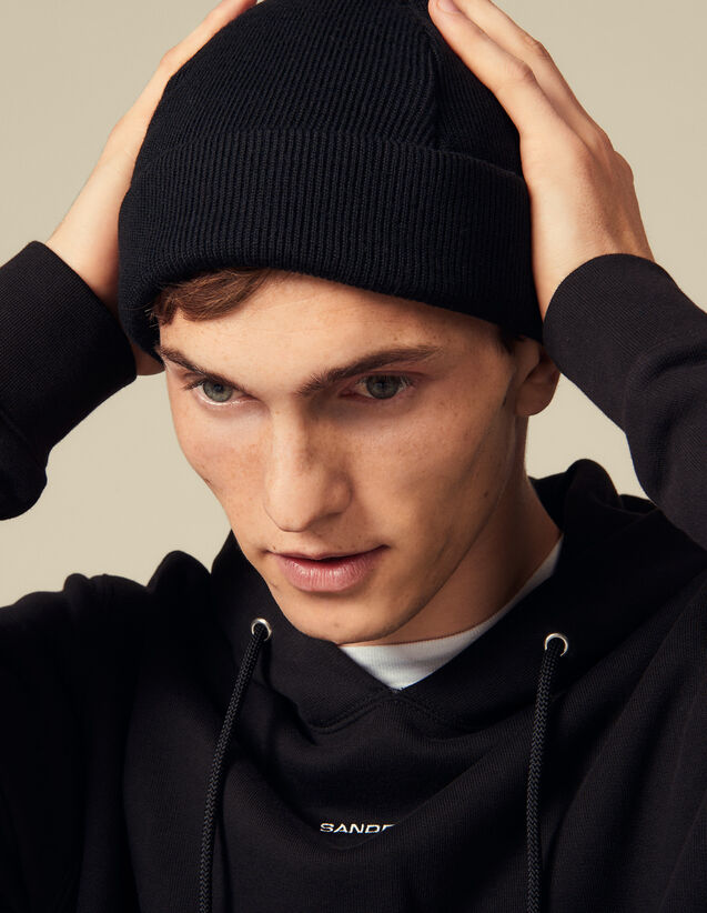 Wool Blend Beanie : Gloves & Hats color Black