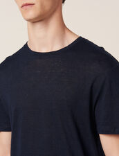 Linen T-Shirt : T-shirts & Polo shirts color Navy Blue