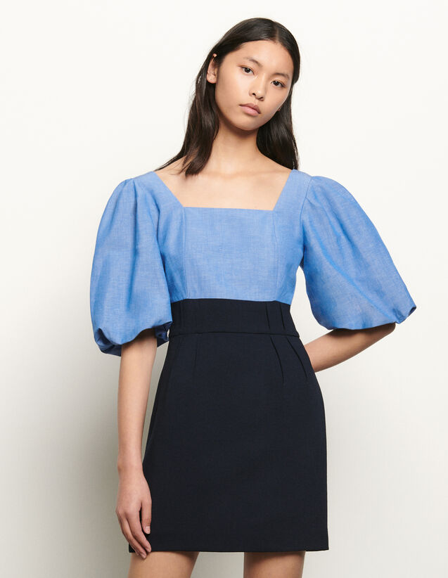Dual material dress with square neckline : Summer Collection color Blue