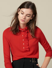 Sweater With Tulle At The Collar : LastChance-ES-F50 color Red