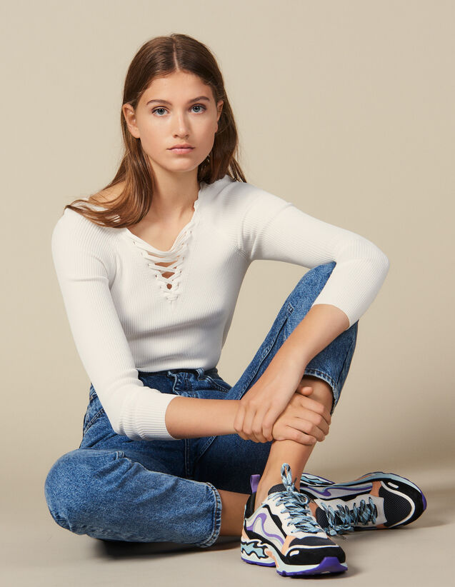 Sweater With Lace-Up Neckline : New In color white