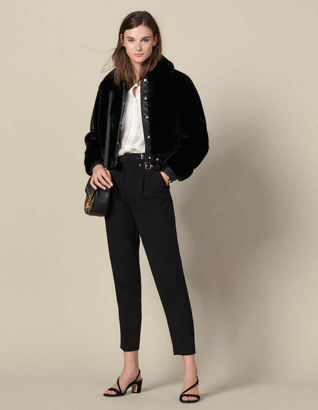 Faux Fur Bomber Jacket : Blazers & Jackets color Black