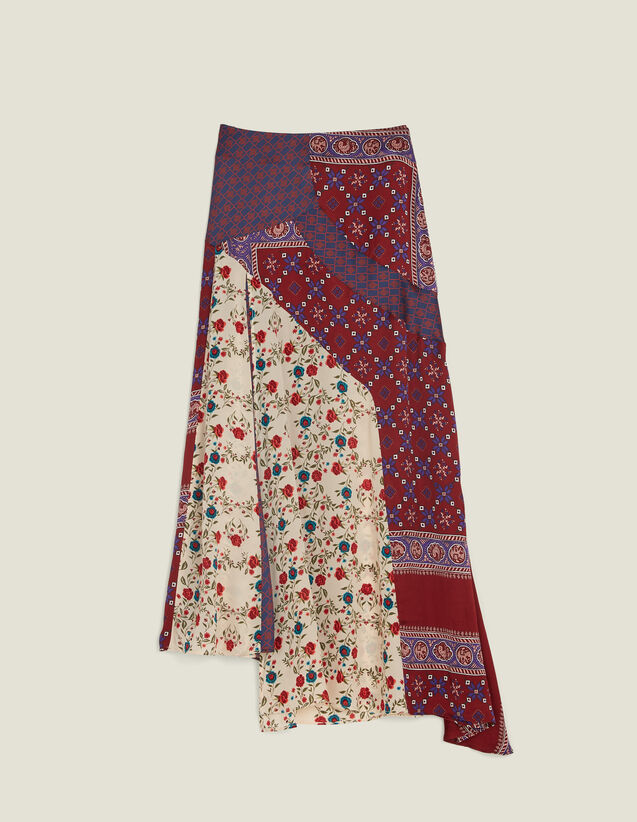 Long Patchwork Printed Skirt : Skirts & Shorts color Bordeaux