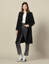 Long fitted tweed coat : LastChance-ES-F40 color Black
