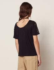 Linen T-Shirt With Lace Trim : T-shirts color Ecru