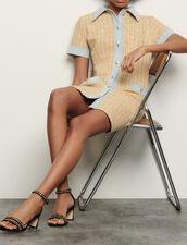 Fancy tweed and denim dress : Dresses color Beige