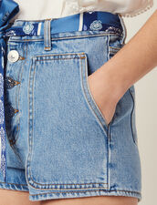 Denim Shorts With Scarf Belt : null color Blue Vintage - Denim