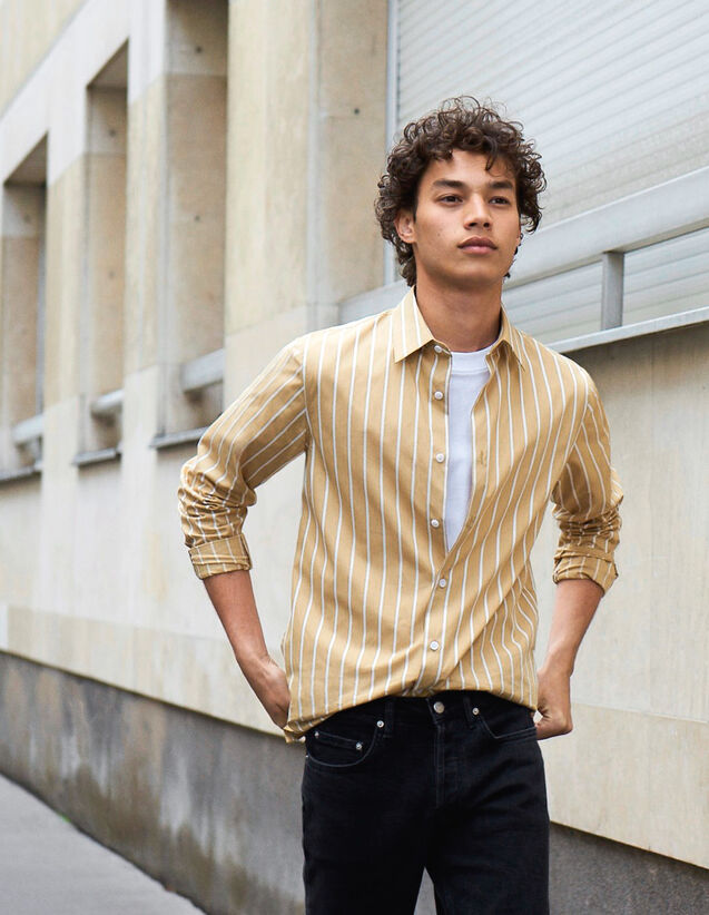 Striped Cotton Shirt : Winter Collection color Beige/White