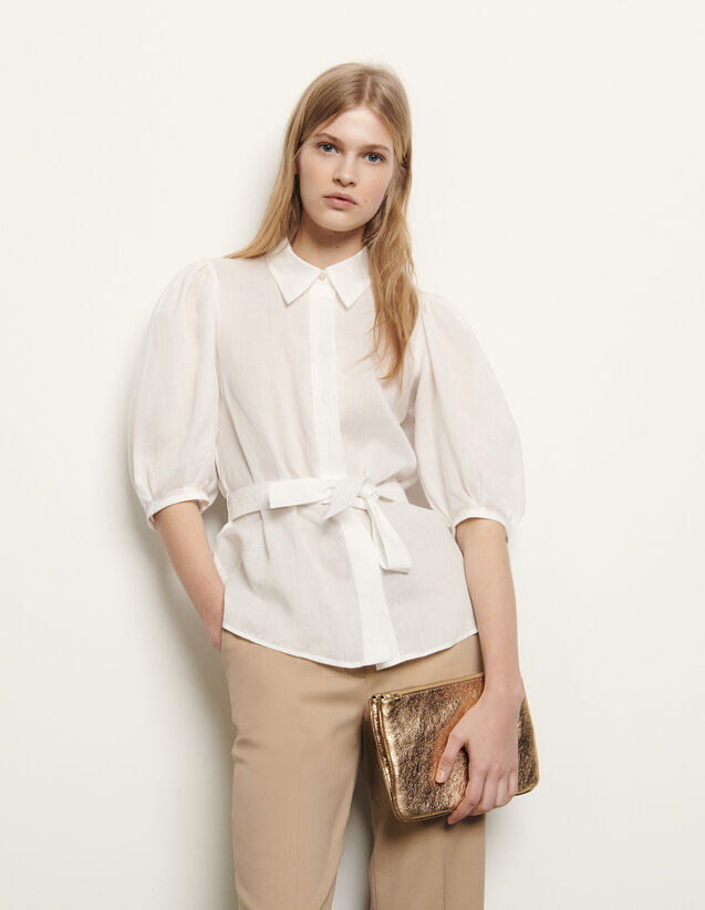 Shirt with removable belt : Summer Collection color Ecru