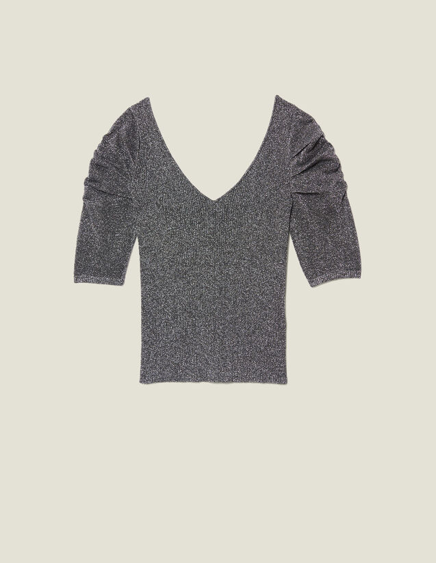 Lurex Knit Top With Puff Sleeves : All Ready-to-wear color Silver