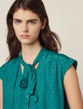 Sleeveless Top With Tie Neckline : null color Green