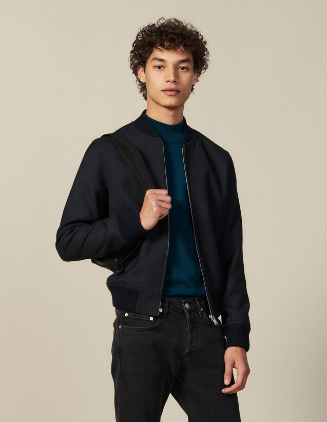 Zipped Bomber Jacket : Blazers & Jackets color Navy Blue