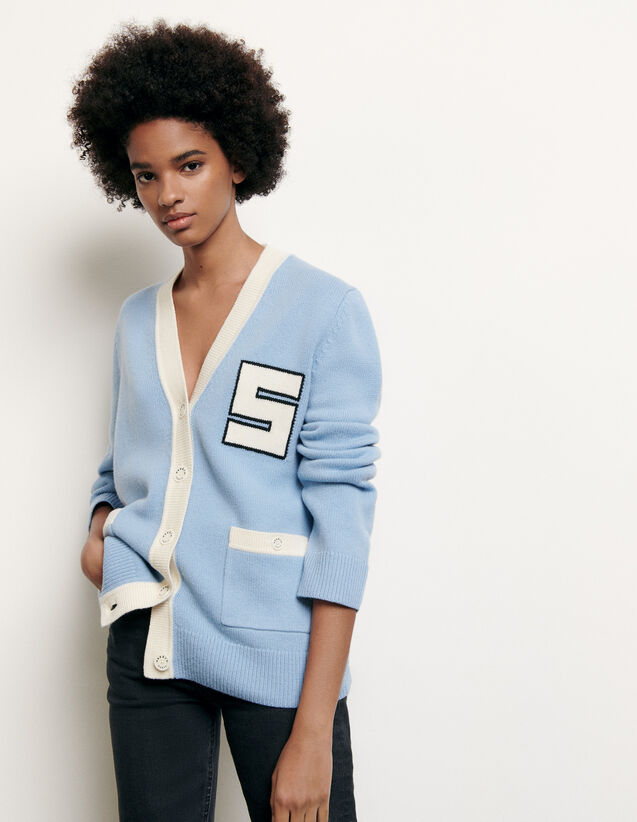 College-style wool cardigan : Summer Collection color Blue sky