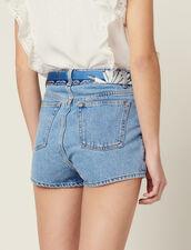 Denim Shorts With Scarf Belt : null color Blue Vintage - Denim