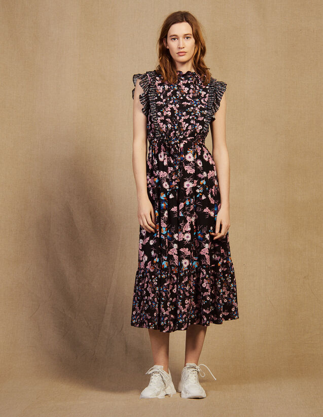 Long Printed Ruffled Dress : Dresses color Black